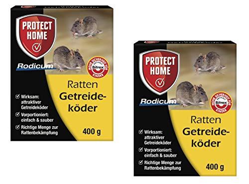 Köder-Discount: Rodicum Ratten Getreideköder mit Warnaufklebern (2 x 400g)