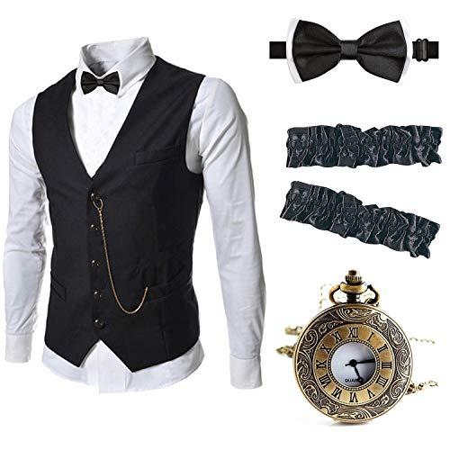 EFORLED Mens 1920s Accessories Gangster Vest Set - Pocket Watch,Armbands,Pre Tied Bow...