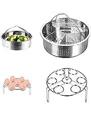 Steamer Rack Set, CestMall 3st Instant Pot Tillbehör Inkluderar Rostfritt Stål Ångkorg, Ägg Steamer Rack, Divider Steamer Rack, Passar för 5,6,8qt 3/5 / 6Liter Instant Pot Pressure Cooker