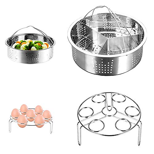 Steamer Rack Set, CestMall 3pcs Accessories for Instant Pot Include Stainless Steel Steam Basket, Egg Steamer Rack, Divider Steamer Rack, Fits for 5,6,8qt 3/5/6Litre Instant Pot Pressure Cooker
