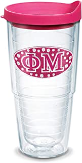 Tervis 1093175 Fraternity - Phi Mu Tumbler with Emblem and Fuchsia Lid 24oz, Clear