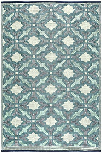 Lightweight Indoor Outdoor Reversible Plastic Area Rug - 5.9 x 8.9 Feet - Florida - Blue