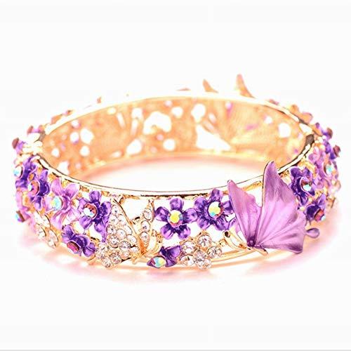WE-WIN Armband Frauen Rose Gold Zirkonia Armreif Armband Handmade Schmetterling Emaille Schmuck Geschenke