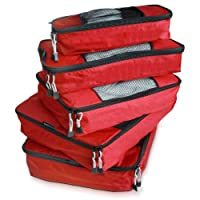 TravelWise Packing Cube System - Durable 5 Piece Weekender Plus Set (Red)