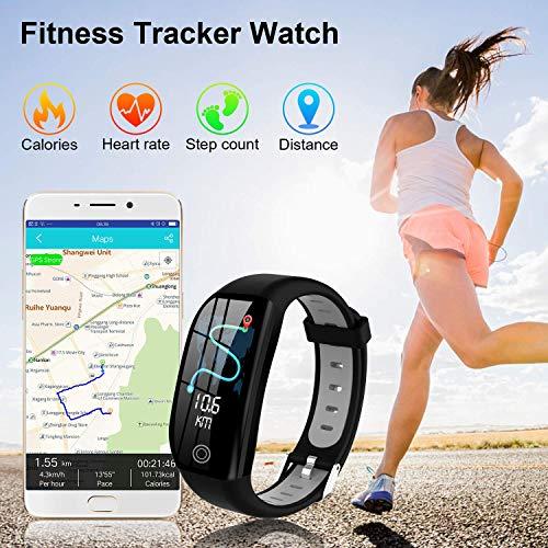 Tipmant Fitness Armband mit Pulsmesser Blutdruckmessung Smartwatch Fitness Tracker Wasserdicht IP68 Fitness Uhr Schrittzähler Pulsuhr Sportuhr für Damen Herren Kinder ios iPhone Android Handy Schwarz - 3