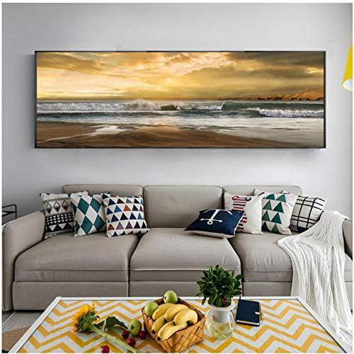 Cuadro abstracto de mar pósteres y reproducciones arte de pared lienzo pintura de onda y fotografía playa para sala de estar decoración (sin marco) 30 x 120 cm
