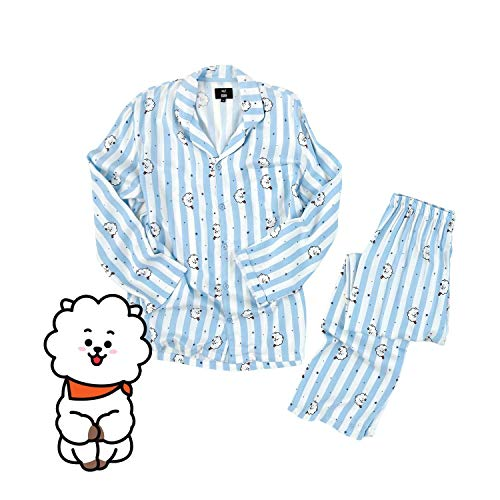 GFEIW Ensemble de Pyjama, Kpop Home pour BTS Bangtan Boys vêtements de Nuit Cartoon v Suga même Harajuku Pyjama Manches Longues Chemise Nighty pour Hommes Femmes Bedgown,Rj,L
