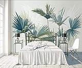 Papier Peint 3D Mur De Fond Tv 200cmX140cm Salon Chambre Moderne Papier Peint Intissé Décoration Murale Palmier Bleu Forêt Tropicale Dessiné À La Main Wallpaper
