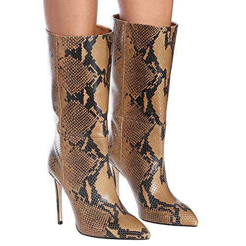 CJCJ-LOVE dameslaarzen, puntige lederen borduurhoes, hoge hak, middenbuis vrouwelijke laarzen