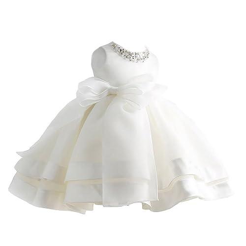 Happy cherry Niñas Princesas Blanco Vestido de Fiesta Tutú Dress sin Mangas para Boda Dama de Honor Fiestas Cumpleaños 6 Tallas a Elegir