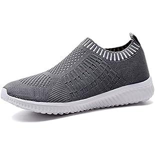 TIOSEBON Women's Athletic Shoes Casual Mesh Walking Sneakers - Breathable Running Shoes 4 UK Deep Gray