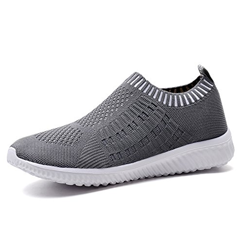 TIOSEBON Women#039s Athletic Walking Shoes Casual MeshComfortable Work Sneakers 13 US Deep Gray