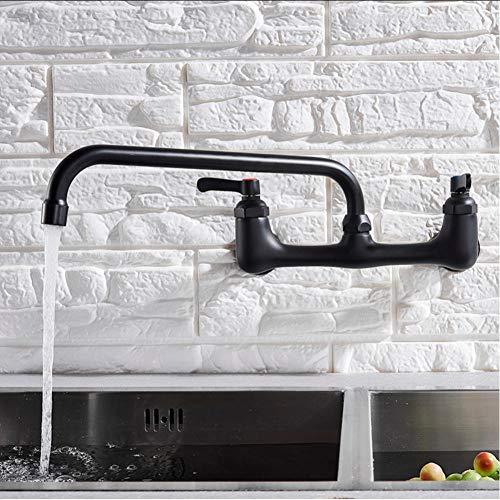 Waterkraan wandmontage met lange uitloop keukenkraan met twee handgrepen messing antiek warm en koud waterkraan 360 draaibaar met lange uitloop keukenmengkraan