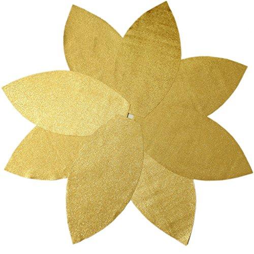 SORRENTO 50' Gold Poinsettia Christmas Tree Skirt Shiny Leaf Design Tree Skirt