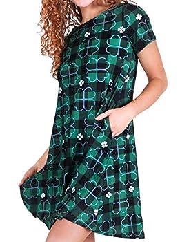 ICONOFLASH Women's Plus Size St Patricks Day Tartan Plaid Dress with Pockets 3XL Shamrock