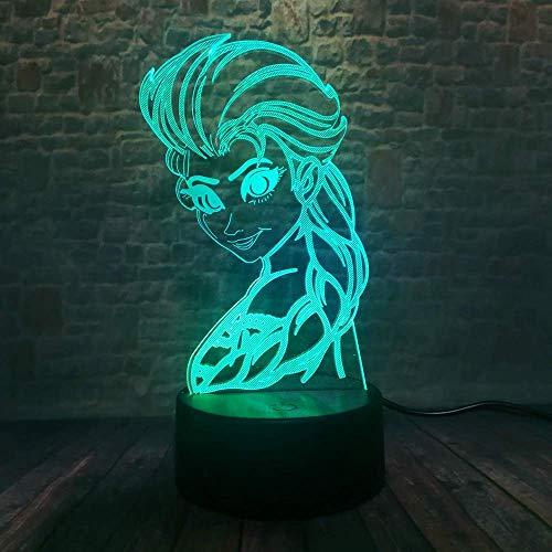MQJ Ice Queen 3D Lámpara de Ilusión para Niños Boys Girls Regalo 3D Noche Luz de Noche para Dormitorio Al Lado de la Mesa, 16 Color Cambiando Led Lámpara de Humor Lámpara de Mesa Lámpara de Mesa Rega