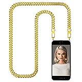 """Zhinkarts Collier pour Apple iPhone 7/8 / Se (2020) - 4,7"""" Display - Étui de Téléphone avec Cordon - Coque pour Smartphone, Ètuis à Bandoulière - Or/Chaîne en Métal"""