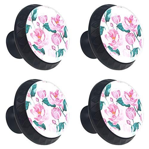 Juego de 4 pomos para cajones de aparador, de cristal, de cristal, para cajón, de armario, para casa, oficina, dormitorio, sala de estar, baño, con tornillos, acuarela rosa rosa y flor floreciente