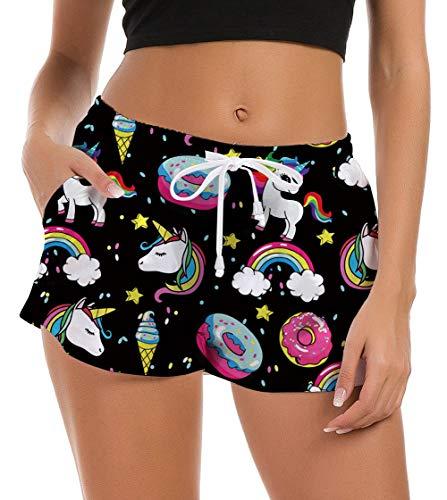 Fanient - Pantalones cortos de natación para mujer, gráficos 3D, de secado rápido, pantalones cortos de verano, bañador de verano, con cordón ajustable A1-unicornio negro XS