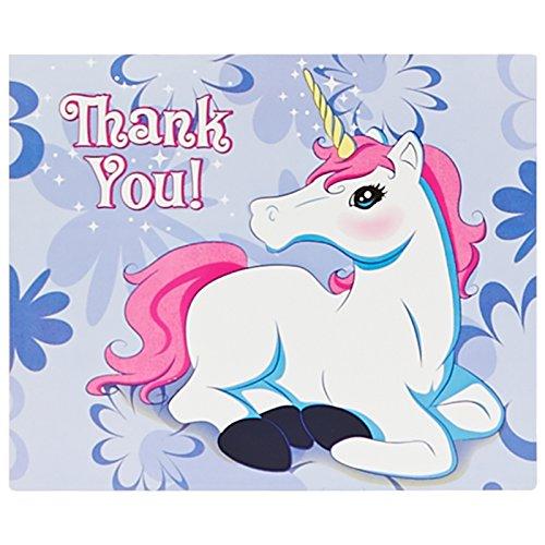 BirthdayExpress Enchanted Unicorn Party Supplies - Thank-You Notes (8)