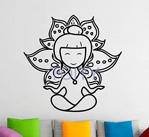 Dibujos Animados Yoga Lotus Tatuajes De Pared Etiqueta De Vinilo Meditación Filosofía Inicio Diseño De Interiores Arte Murales De Pared Dormitorio De75X74Cm