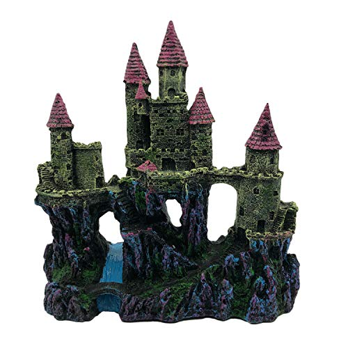 AnxunJim Aquarium Resin Castle Decoration, Castle Large Fish Tank Decoration Hand Painted with Realistic Details