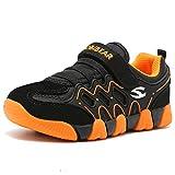 HOBIBEAR Kids Outdoor Sneakers Strap Athletic Running Shoes(Orange/Black,1 Little Kid)