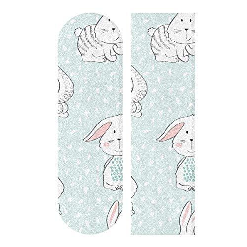 N\A 33.1x9.1inch Sport Outdoor Skateboard Aufkleber Bunny Cute Child Rabbit Mit Blumen Drucken Wasserdichtes Skateboard Sandpapier Für Tanzbrett Double Rocker Board Deck 1 Blatt