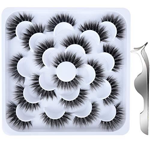10 Paires Faux Cils 3D, FANDAMEI Fau Cils Naturel à la Main Ultra-Minces Cils Professionnel Cils Noir Réutilisables Kit Cils avec Pincette
