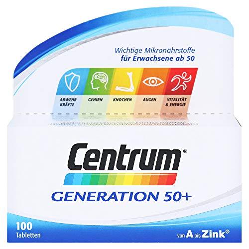 Centrum Generation 50+ – Hochwertiges Nahrungsergänzungsmittel mit Mikronährstoffen – Für Best Ager ab 50 Jahren – Vitamine, Mineralstoffe, Spurenelemente – 1 x 100 Tabletten
