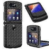 Vizvera Schutzhülle für Moto Razr 5G, Karbonfaser, Leder, Hartschale, kompatibel mit Motorola Moto Razr 5G 2020, Schwarz