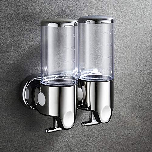 DM&FC 2 Kammer Seifenspender Wandmontage Manuell Flüssigseifenspender Duschgel Shampoo Lotionspender Seifenpumpe Für Badezimmer Küche Hotel Durchsichtig