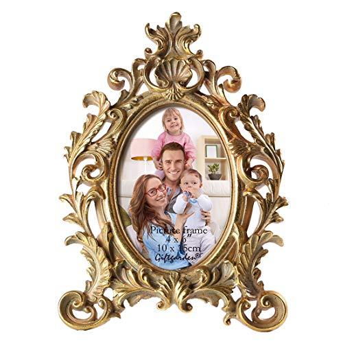 Giftgarden Bilderrahmen 10 x 15 cm Gold Vintage Oval Antik Barock Fotorahmen Hochzeit Family Friends