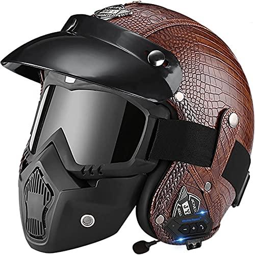 Casco Bluetooth Para Scooter De Motocicleta Para Adultos 3/4 Casco De Cara Abierta Con Certificación DOT / ECE Casco De Protección Para Motocicleta Con Visera Solar Para Motocicletas / Scooters / Cicl