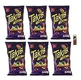 Takis Fuego Tortilla Chips 3.2 oz (6 Pack) with Free Mini Tajin Clasico Seasoning .35 oz (Fuego)