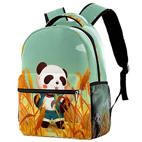 Z&Q Zainetti per bambini Panda di riso autunnale Animale Carino Scuola Borsa per Bambini 29.4x20x40cm