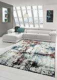 Sala de Estar diseñador Alfombra Alfombra contemporánea bajo Alfombra de Pelo Heather Splash Diseño Turquesa Crema Multi Marrón Größe 160x230 cm