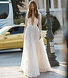 WANGMEILING Vestido de novia blanco Vestido de manga larga de la boda del cuello en V Corte Apliques Tren de encaje de tul A-Line Novia Vestidos (Color : White, US Size : 8)