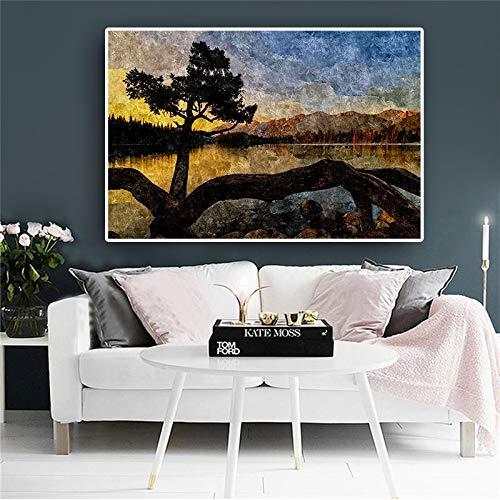 sanzangtang Abstrakte Himmel Baum Sonnenuntergang Berg Poster und Druck auf Leinwand Nordic Nordic Wand Pop-Art Bild für Wohnzimmer rahmenlose 20x30cm