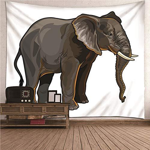 Daesar Tapiz Pared Decoracion Retro,Elefante Tapicería Tela Poliéster Tapiz Grande Gris Blanco 150x130CM(Ancho x Altura)