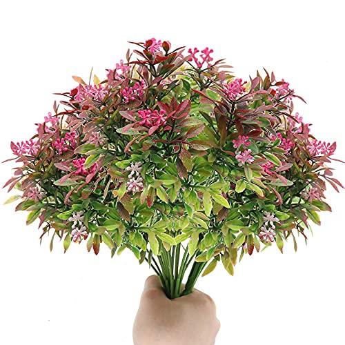 Flores Artificiales 4 Piezas 11.8 Pulgadas Falso Milán Plantas Arbustos Verdor Ramo para Arreglos de Mesa de Cocina en el Hogar Decoraciones de Otoño de Boda de Interior al Aire Libre (Rosa Rojo)
