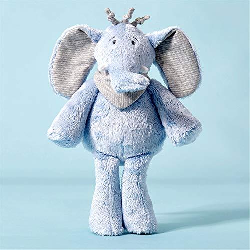 LALB Juguete De Felpa De Elefante Azul, Muñeca De Confort para Dormir con Bebé, Muñeca del Corazón De La Muchacha, Regalo De Cumpleaños para Niños