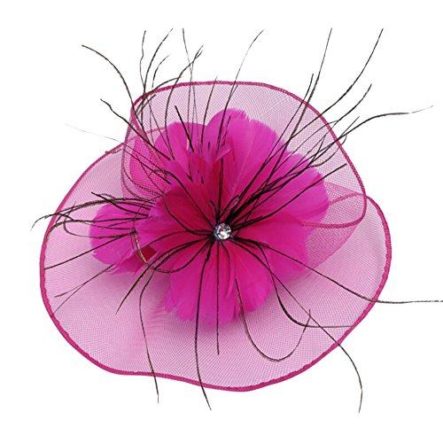 Beonzale Mode Frauen Fascinator Mesh Hat Blumen Cocktail Party Kopfschmuck Hochzeit Stirnband für Frauen Feder Haarschmuck Cocktail Hut Braut Haarschmuck