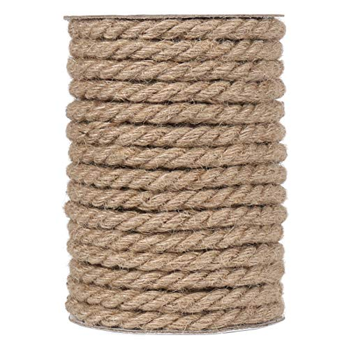 Tenn Well 50 Feet 10MM Natural Jute Rope, Heavy Duty Jute Twine for Gardening, Bundling, Decorating, DIY Crafts