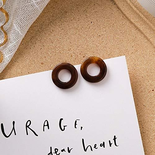 LANSHUYING Mode braune Literatur Ohrringe frischen Trend süßes Mädchen Acetat Acryl Plüsch runden geometrischen Anhänger Kaffee Ohrringe