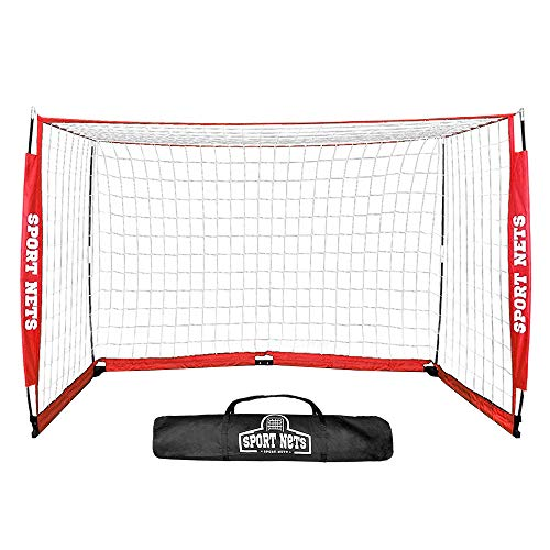 Hit Run Steal Portable Soccer Goal - Portable Bow Frame Soccer Net with Carry Bag - 8 x 4