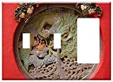 3-Gang 2-Toggle 1-Rocker/GFCI Combination Wall Plate Cover - Symbol Antique Old Red Dragon Chinese Temple