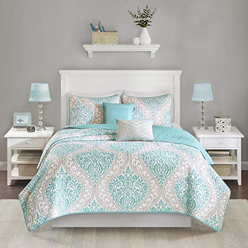 teal and coral quilt - 5