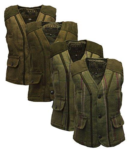 Walker & Hawkes – Chaleco ajustado de lana de tweed para bebé Verde Salvia Oscura 18