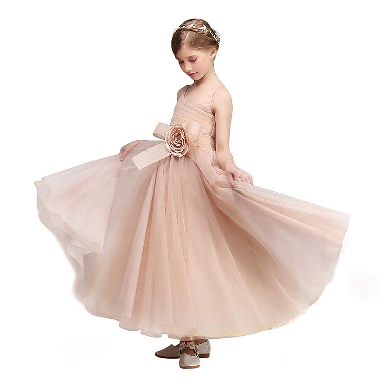 giminuo子供ドレス ロングドレス ピアノ発表会 女の子 演奏会 高級オーダー ジュニア ゴージャス コンクール 大きな花コサージュ ピンク